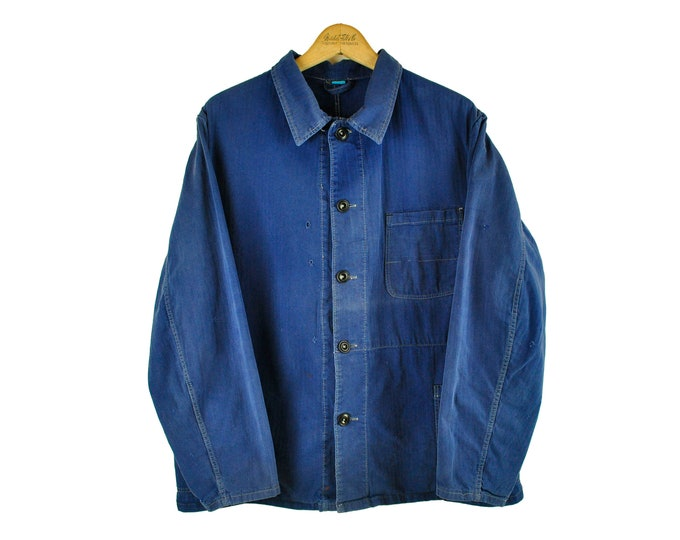 Indigo European Chore Jacket, Distressed Workwear, Herringbone, Large