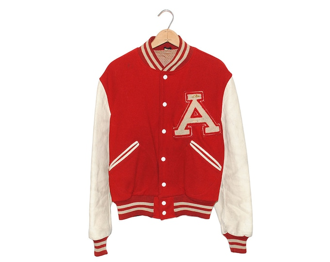"""Vintage Red & White Leather """"A"""" Varsity Jacket of Champions Tailored by Butwin Made in USA - Medium (os-jkt-8)"""