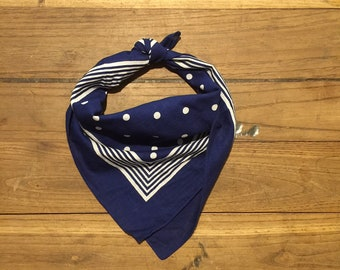 Vintage European navy/white spotted bandana 19 inches broad. Deadstock,  washed until soft.