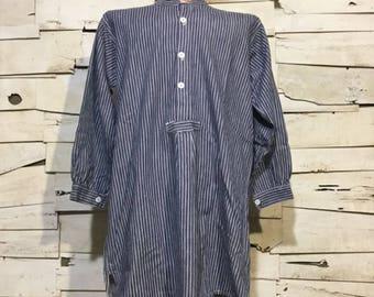 Vintage German Fisherman Striped Shirt/ Harbour Top (os-ht-1)