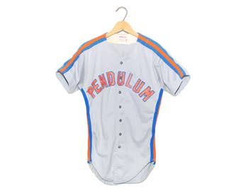 "Vintage Wilson ""PENDULUM"" #1 Grey Orange & Blue Baseball Jersey Shirt Made in USA - Small (OS-As-4)"