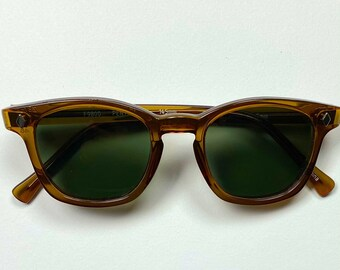 Custom vintage Sunglasses Honey frame with green lens, Safety glasses