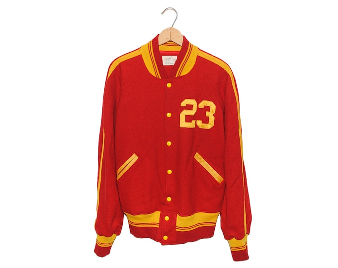Vintage Red & Yellow Coane #23 Varsity Jacket Made in USA - Medium (os-jkt-9)