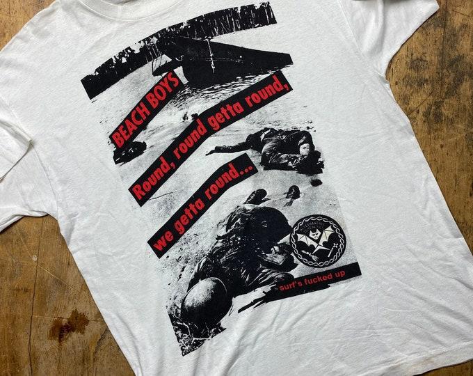 Dead Kennedy's vintage Beach Boys surfs F'ed up shirt.