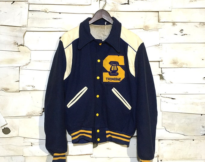 "Vintage Navy ""S"" Trombone Varsity Jacket Made in USA - Medium (VA-01)"