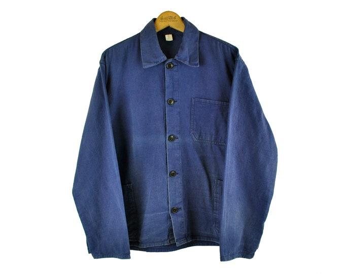Indigo European Chore Jacket, Distressed Workwear, X-Large