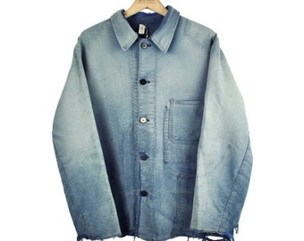 Indigo European Chore Jacket, Distressed Workwear, Moleskin, Large