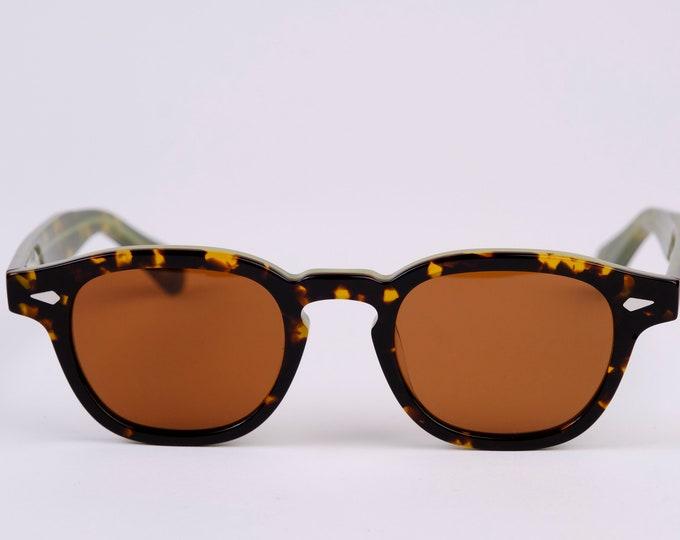 New York Irish Causeway Glasses Black/Green frame with Amber lenses Large