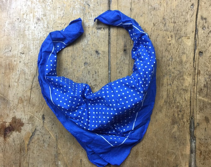 European vintage polka dot spotted bandana Bright blue and white