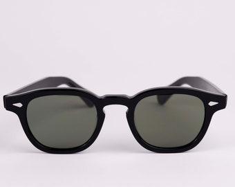 New York Eye_rish  Causeway Glasses Black with Green G24 lenses Small