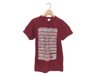 """Vintage 70's """"The Good Taste of Beer Comes In a Bottle"""" Maroon 100% Cotton T-shirt - Small (OS-TS-15)"""