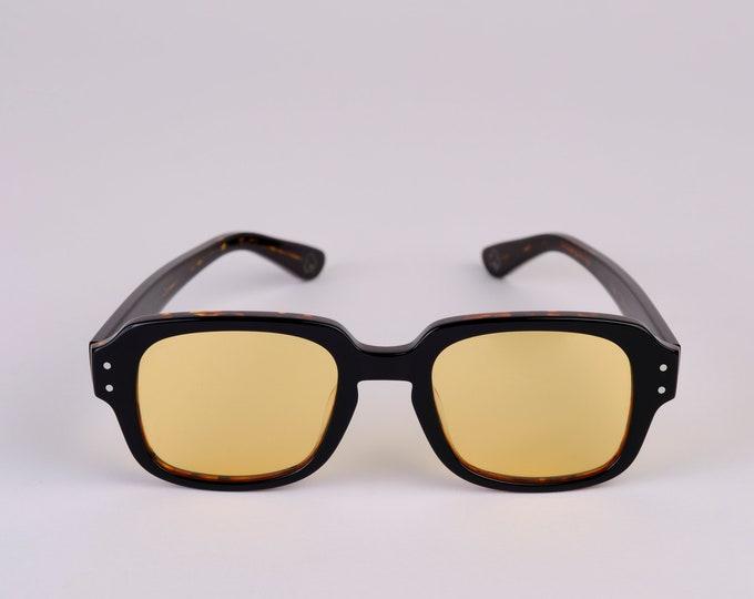 "New York Eye_rish ""The Downings"" Frame Dark Brown Tortoise Shell Frame with Yellow Lenses"