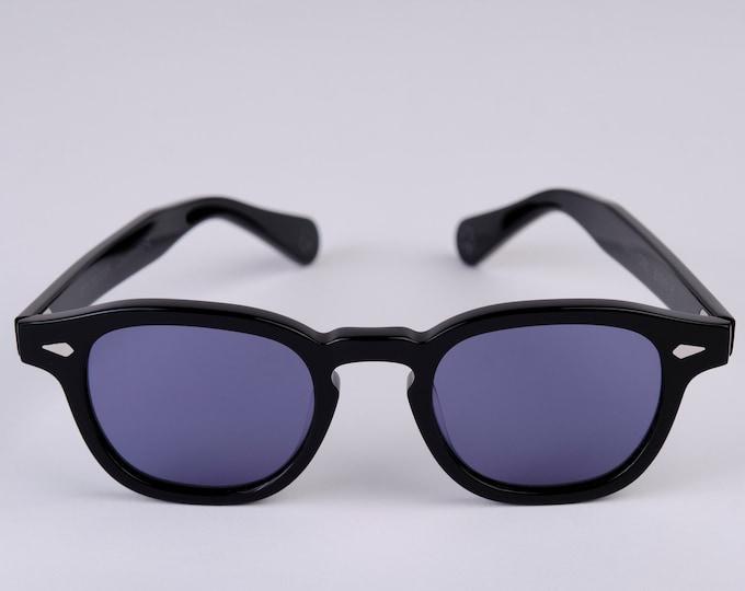 New York Eye_rish Causeway Glasses Black with Blue lenses Large
