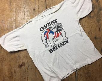 Great Britain British Bulldog 1970's vintage tee shirt