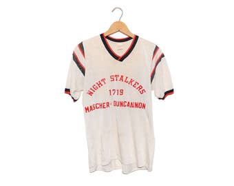 Vintage Night Stalkers Red Black & White 60/40 Nylon-Cotton Jersey Shirt Made in USA - Medium (OS-AS-3)