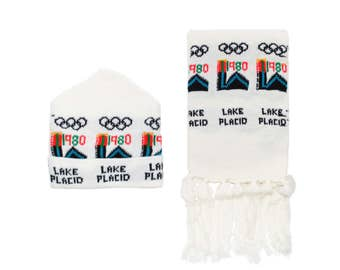 Vintage 1980 Lake Placid Olympics Knit Hat & Scarf Combo, New Old Stock