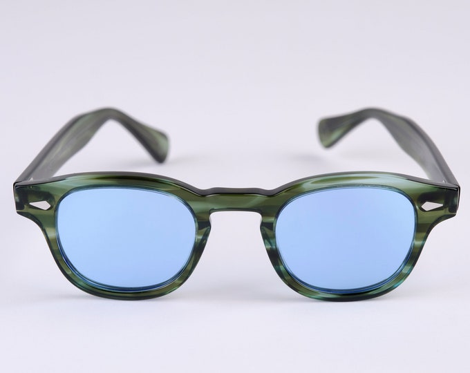 New York Eye_rish Causeway Glasses green with Blue lenses Small