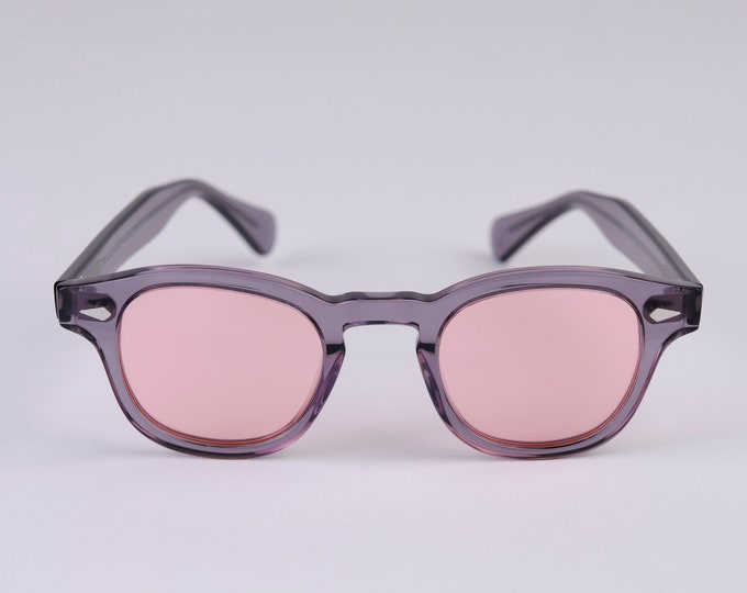 New York Eye_rish Causeway Glasses  Grey with Pink lenses. Small.