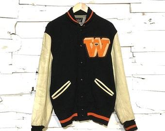 """Vintage Black Wool & Leather """"W"""" Varsity Jacket Made in USA - Medium (VA-02)"""