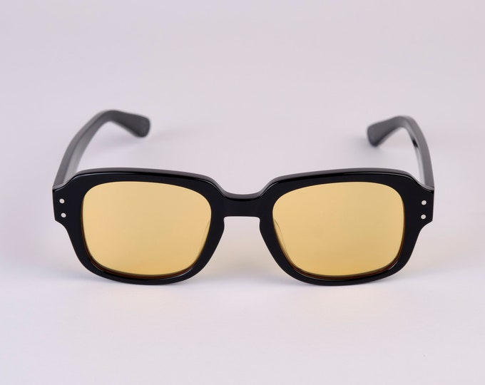 """New York Eye_rish """"The Downings"""" Frame Black Polished Frame with Yellow Lenses"""