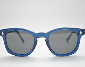 Custom Sunglasses, Blue frame and gray lens, American made