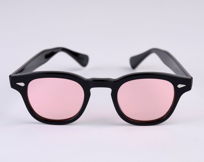 New York Eye_rish  Causeway Glasses Black with Pink lenses Small