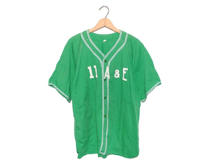 Vintage Bright Green 100% Cotton 11 A & E Jersey Shirt Made in USA - Large (OS-AS-1)