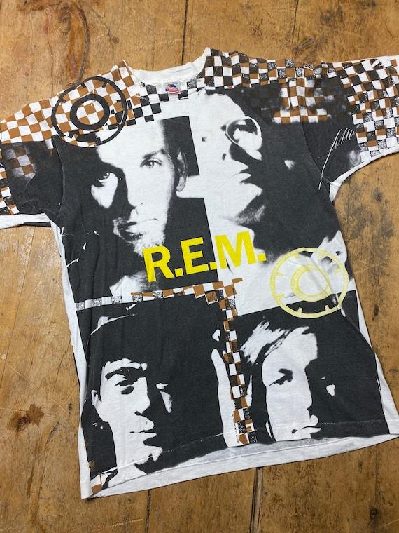 Vintage R.E.M. shirt all over print.