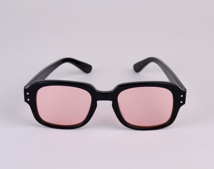 """New York Eye_rish """"The Downings"""" Frame Black Polished Frame with Pink Lenses"""