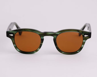 New York Eye_rish Causeway Glasses green with amber lenses Small
