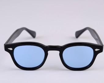 New York Eye_rish  Causeway Glasses Black with Blue lenses Small