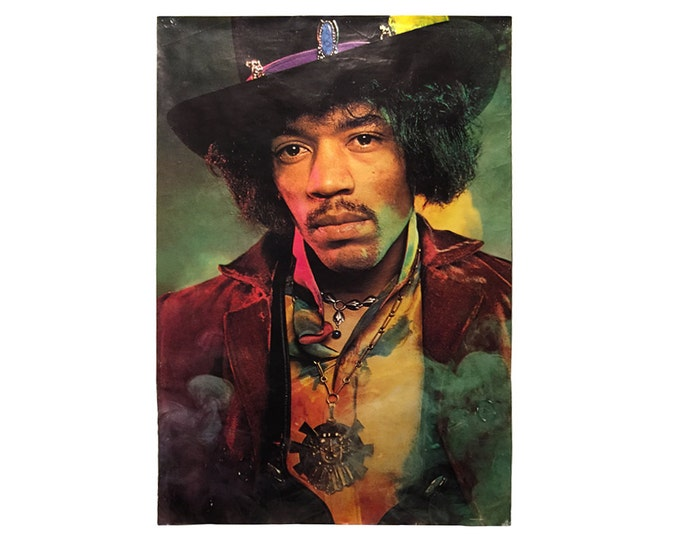 "Vintage Jimi Hendrix Large 60"" X 40"" Green Haze Portrait Rock Poster, Printed in England"