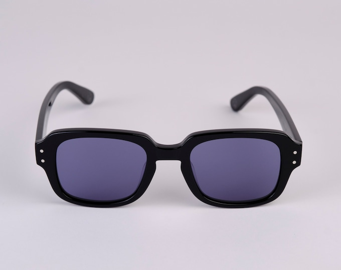 """New York Eye_rish """"The Downings"""" Frame Black Polished Frame with Blue Lenses"""