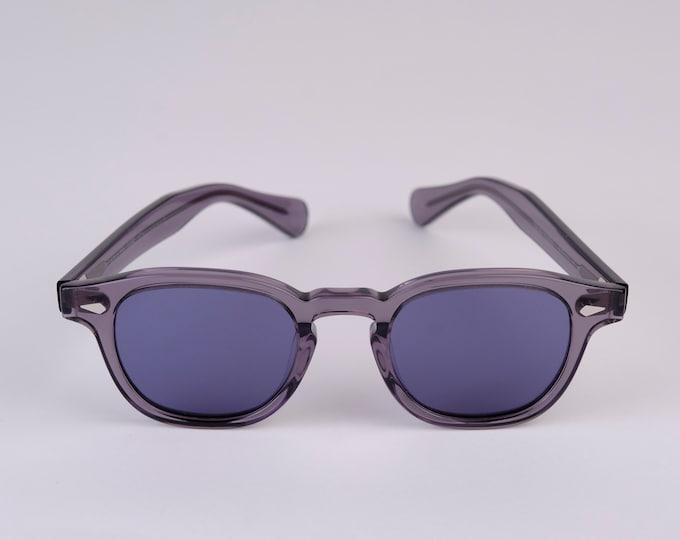 New York Eye_rish Causeway Glasses Grey with Blue G24 lenses Large