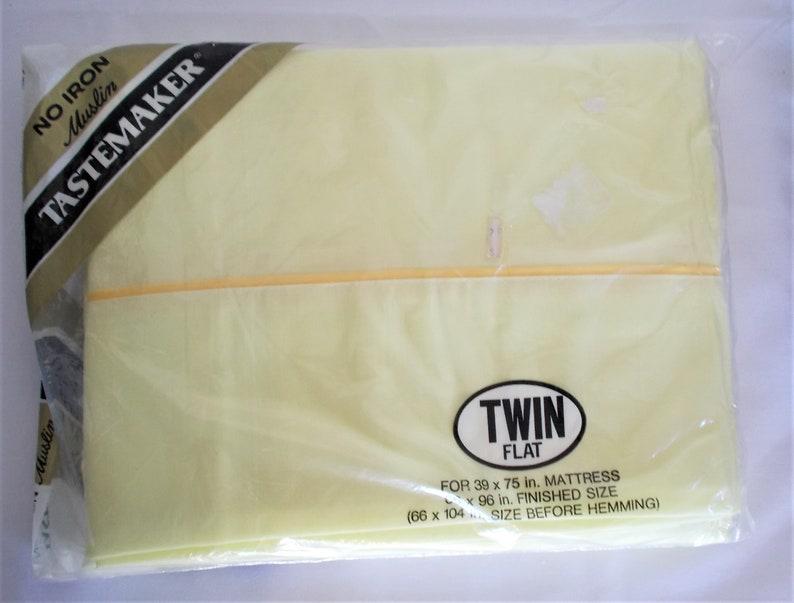 Tastemaker Twin Flat Sheet Butter Yellow No Iron Muslin 66 x 96 NIP Unopened