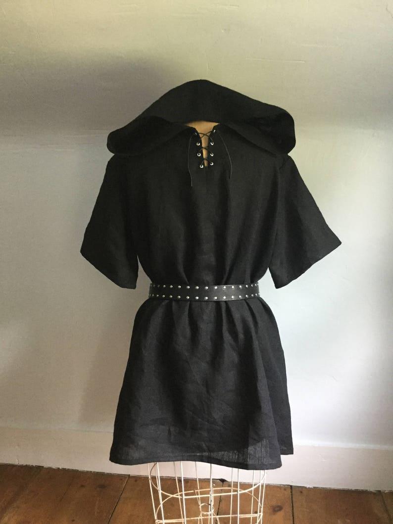 bb2ad20276a Black hooded linen mens medieval viking tunic sca larp