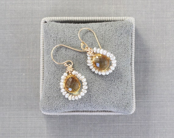 Victorian Inspired AAA Faceted Citrine Seed Pearl Hoop Dangle Earrings, 14k Gold Filled Wire Wrapped Dangles - Golden Dew Drops