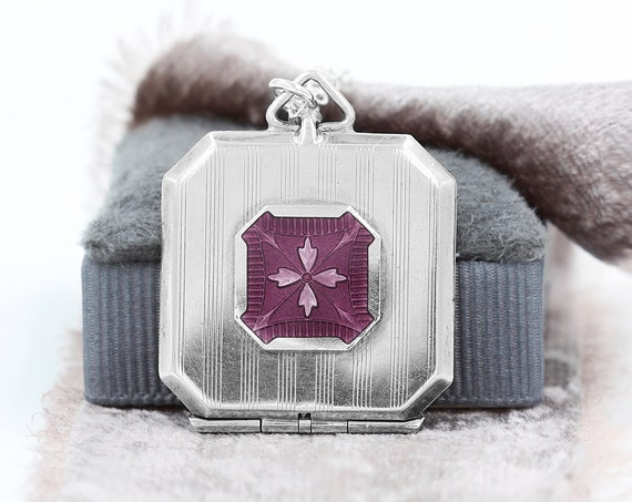 Antique Plum Enamel Sterling Silver Locket Necklace, Circa 1910's - 1920's Picture Locket, Violet Hue