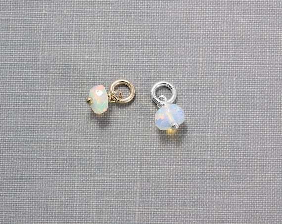 October Birthstone Opal Charm, Teeny Tiny Sterling Silver or 14K Gold Filled Wire Wrapped Faceted Gemstone Pendant- Add a Dangle