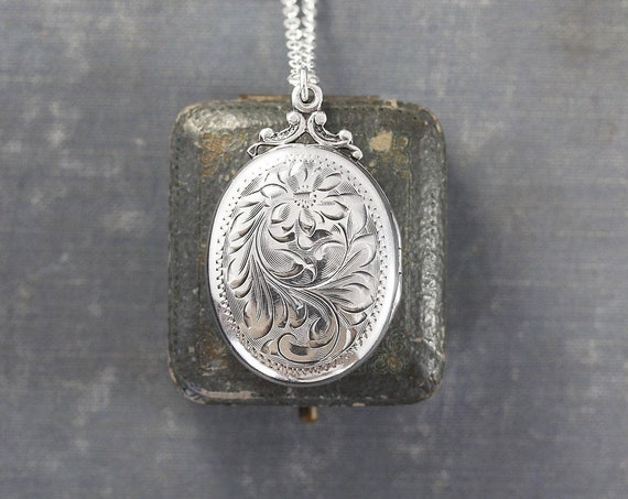 Sterling Silver Locket Necklace, Vintage Oval Photo Pendant on Special Filigree Chain - Family Heirloom