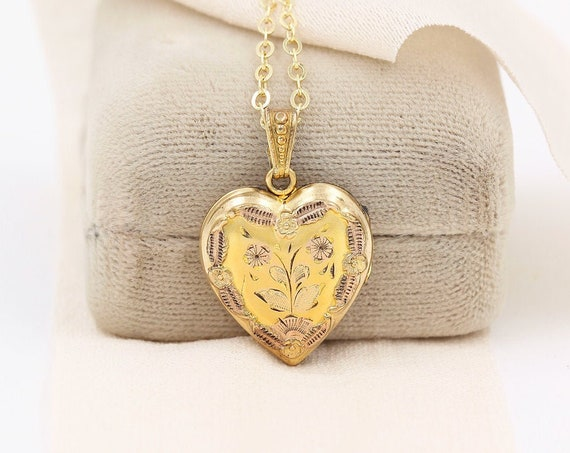 Gold Heart Locket Necklace, Gold Filled Vintage Pendant with Adjustable Chain - Heart of Love