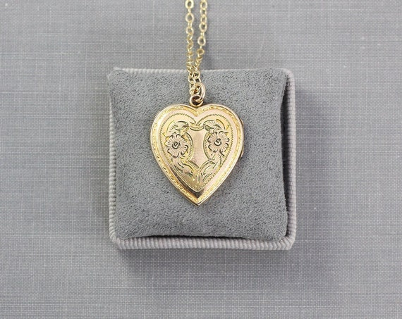 Gold Filled Heart Locket Necklace, Keyhole and Flower Engraved Vintage Pendant - Key to My Heart