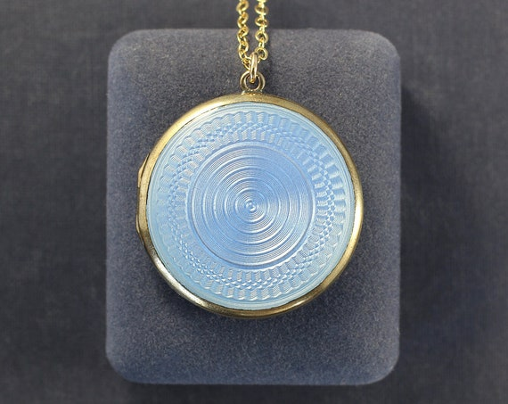 Antique Guilloche Enamel Gold Locket Necklace, Gold Washed Sterling Pendant and 14K Gold Filled Chain - Periwinkle Blue
