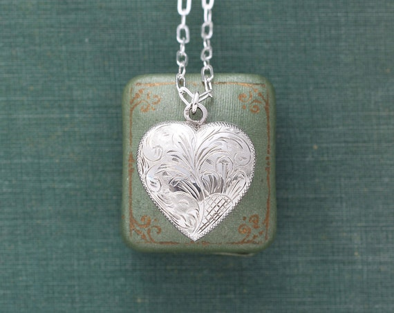 Sterling Silver Heart Locket Necklace, Vintage Swirling Vine and Celosia Engraved Picture Pendant - Inside My Heart