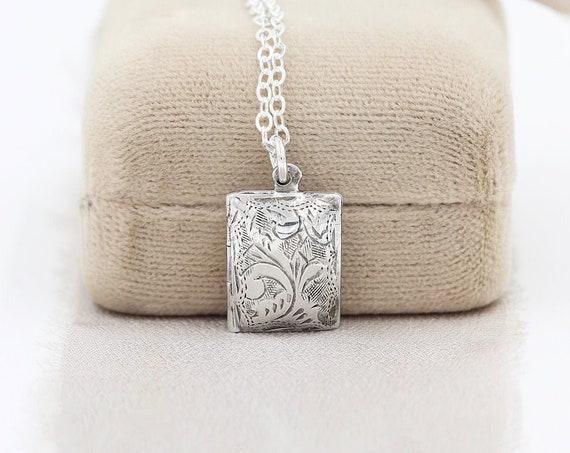 Vintage Sterling Silver Book Locket Necklace, Layering Photo Pendant 20 inch Chain - Pretty Paisley