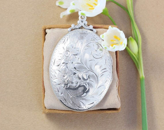 Large Oval Sterling Silver Locket Necklace, Vintage Birks Photo Pendant on Special Filigree Chain - Celebrating Love