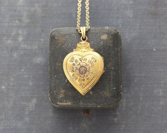 Gold Filled Heart Locket Necklace, Hayward Vintage Photo Pendant with Rose Engraved Flower - Enchanted Rose