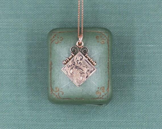 Antique Rose Gold Locket Necklace, Diamond Shaped Edwardian Gold Filled Photo Pendant - Simple Diamond