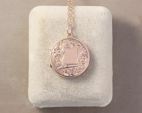 Antique 9ct Rose Gold Locket Necklace, 9 Karat Hallmarked Pink Gold Round Photo Pendant - Forever