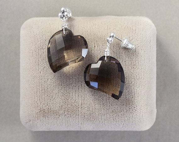 Heart Shaped Smoky Quartz and Sterling Silver Stud Earrings - Large Rare Faceted Gemstones - Chocolate Hearts